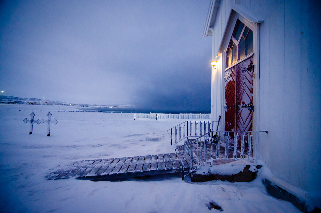 nesseby Church with Arctic Ocean in the background