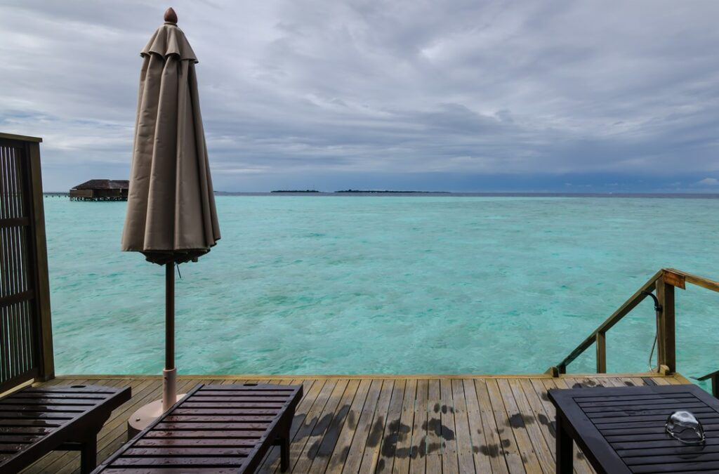 View from the deck of our water villa in Maldives