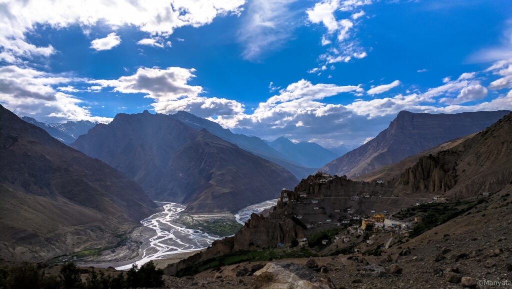 The quintessential natural scenery, complete with mountains, river and a village - there is no dearth of these views in Spiti