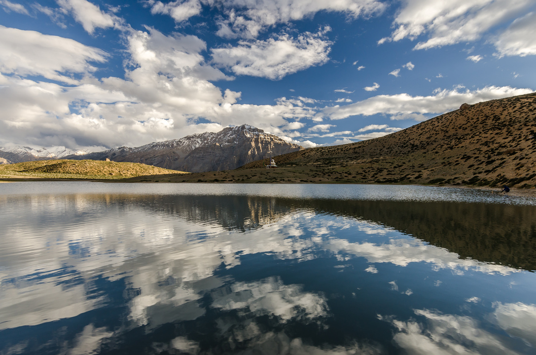 Mountains and clouds reflected in the Dhankar Lake - the hidden treasure which can only be reached by a good 2 hour trek!